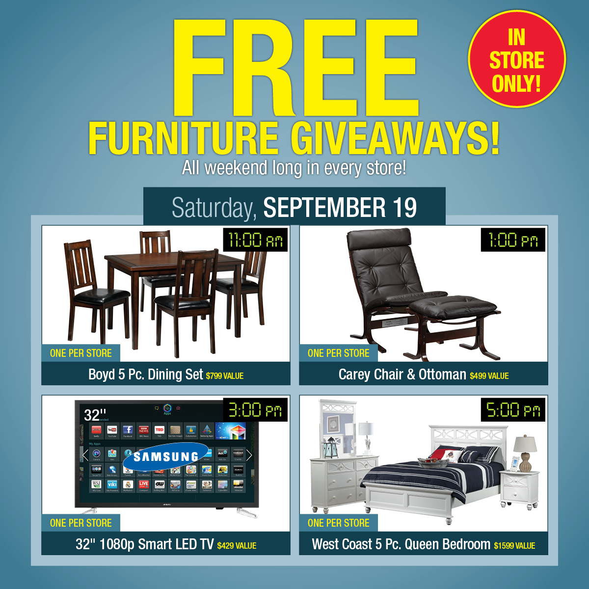 Exceptional FREE Furniture Giveaways On Friday And Saturday U2013 IN STORE