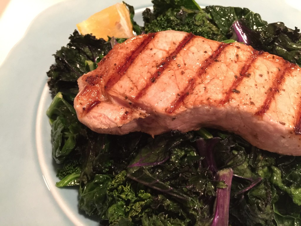Greek Style Pork Chops with Kale - She's Connected