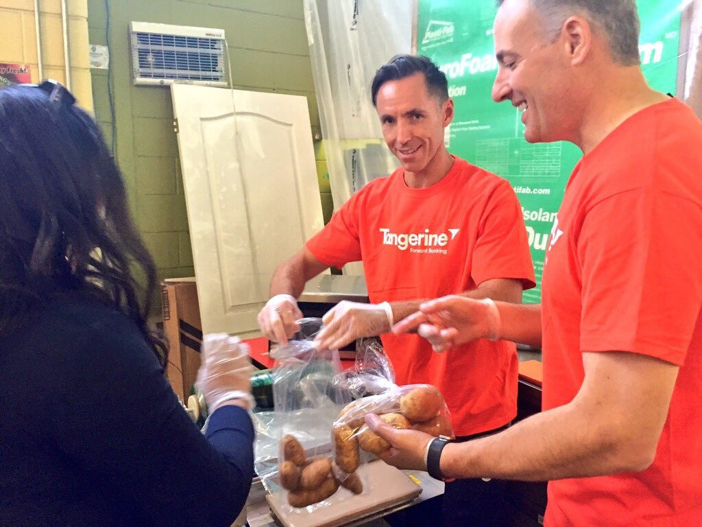 Steve Nash and Peter Nash helping at FoodShareTo on Road to a BrightWayFoward Tour