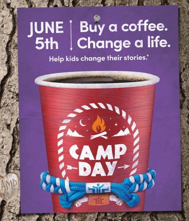 Purchase a coffee on Camp Day – June 5th – at participating Tim Hortons® restaurants and help youth change their stories (CNW Group/Tim Hortons)