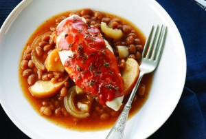 BBQ Chicken over Apple Maple Baked Beans