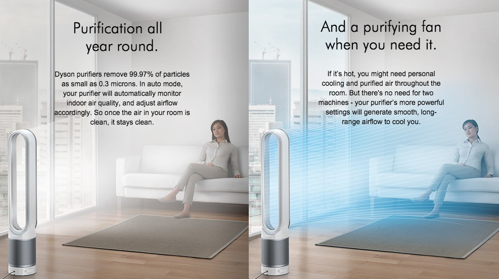 Dyson's cooling features will be just what you need on a hot day, while still giving you the purest and cleanest of air.