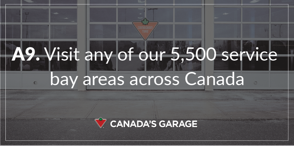 A8. There are 5,500 @CanadianTire service bay areas across Canada. #CanadasGarage